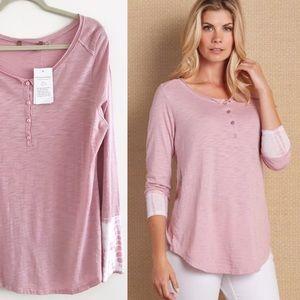 SOFT SURROUNDINGS Tie dye pink Henley Tunic Top L